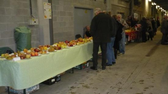 Stand de Roger SOUDON avec des dizaines de variétés de pommes